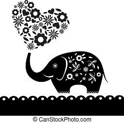 coração, flowers., elefante, cartão, cute