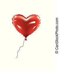 coração, folha, balloon