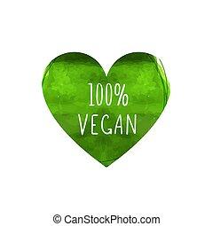 coração, folha, coloridos, dado forma, sinal, cento, isolado, vegan, experiência., vetorial, verde, palavras, 100, branca, manuscrito