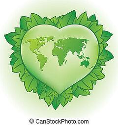 coração, folha verde