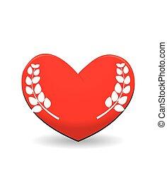 coração, folha, vermelho