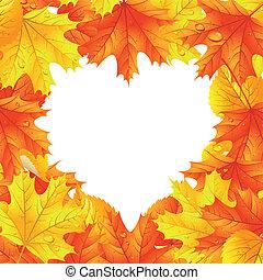 coração, folhas, forma, maple