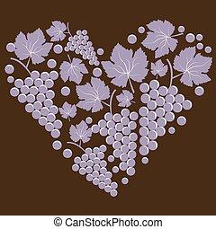coração, folhas, uvas, forma