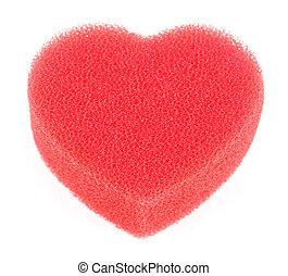 coração, forma, grande, isolado, chuveiro, esponja, branco vermelho