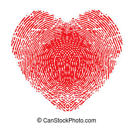 coração, forma, impressão digital