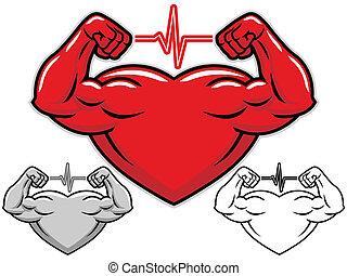 coração, forte, personagem, caricatura