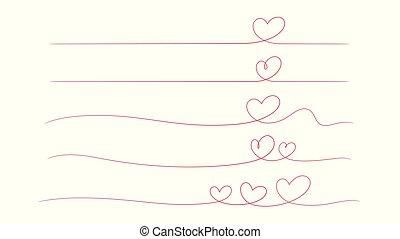 coração, freehand, desenho, fundo, onda