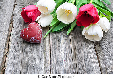 coração, fresco, vermelho, tulips