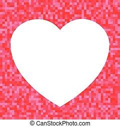 coração, fundo, branca, pixel, vermelho, ícone
