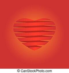 coração, fundo, ilustração, origami