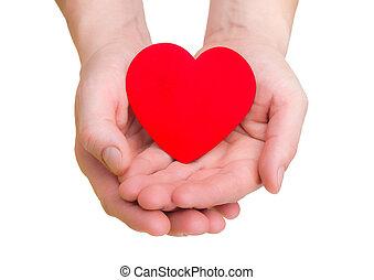 Coração, fundo, mãos, branca, ter, vermelho