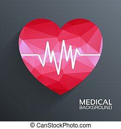 coração, fundo, teia, móvel, ilustração médica, polygonal, vetorial, modelo, concept.