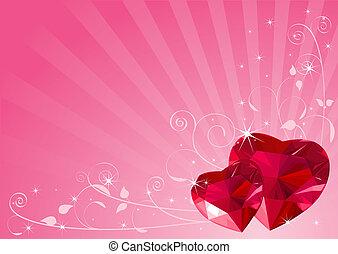 coração, fundo, valentine