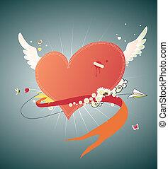 coração, funky, vermelho