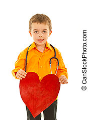 coração, futuro, doutor, segurando, menino