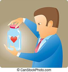 coração, garrafa