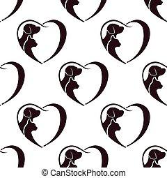 coração, gato, pattern., seamless, cão
