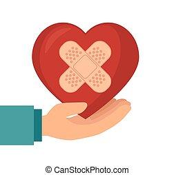 coração, gesso, ter, mão