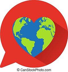 coração, globo, conceito, mundo