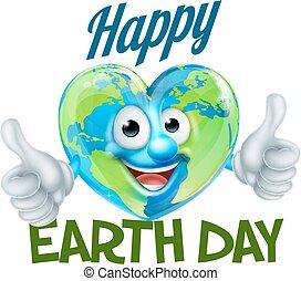 coração, globo, desenho, terra, mascote, dia, feliz