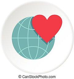 coração, globo, mundo, terra, círculo, ícone