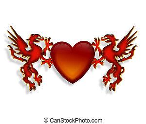 coração, gráfico, dragões, 3d