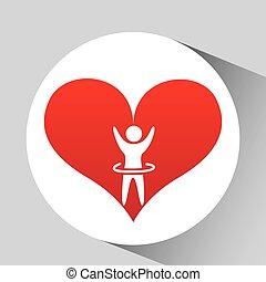 coração, gráfico, silueta, batida, atleta, desenho