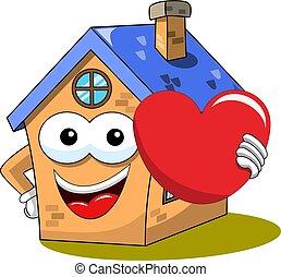 coração, grande, isolado, fanny, segurando, casa, caricatura, feliz