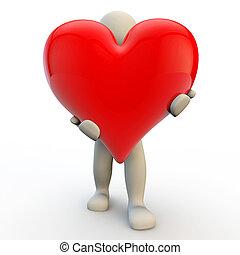 coração, grande, segura, personagem, human, vermelho, 3d