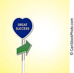 coração, grande, -, sucesso, signpost