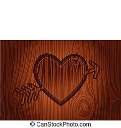 coração, gravado, árvore
