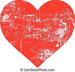 coração, grunge, selo, concept., ilustração, forma, borracha, vetorial, amor, vermelho