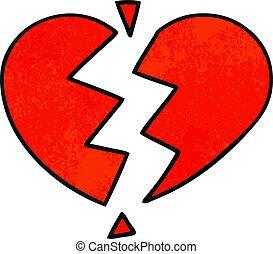 coração, grunge, textura, quebrada, retro, caricatura