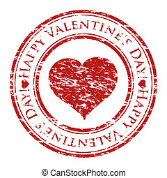 coração, grunge, valentine, selo, texto, dentro, isolado, ...