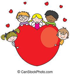 coração, grupo, crianças