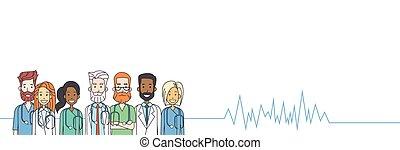 coração, grupo, doutores, medial, taxa, pulso, equipe