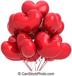 coração, hélio, balões, vermelho, dado forma