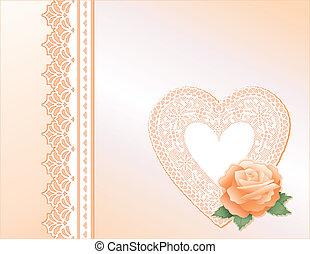 coração, herança, renda, cetim, rosa