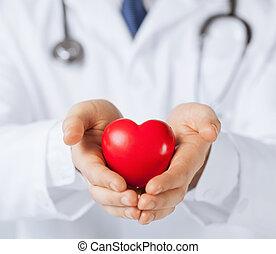 coração, homem, mãos