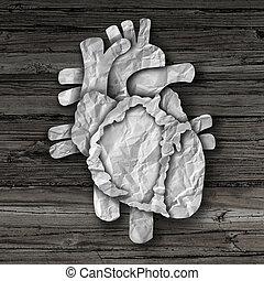 coração humano, órgão, conceito