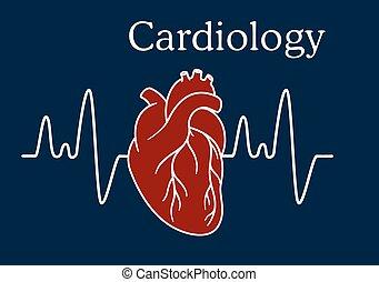 coração humano, com, onda, frequência