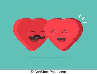 coração, idéia, abraçando, abraço, sorrindo, dois, caricatura, paixão, encantador, feliz, apartamento, mulher, par, símbolo, caráteres, corações, dia, homem, presente, ilustração, valentines, junto, vetorial, ícone, desenho, caras