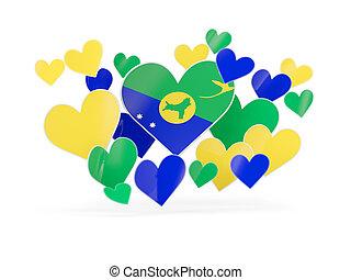 Coração, ilha, Dado forma, bandeira, adesivos, Natal