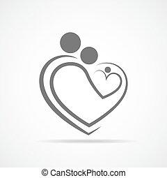 coração, illustration., família, símbolo, forma., vetorial, ...