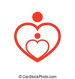 coração, illustration., família, símbolo, forma., vetorial, cuidado