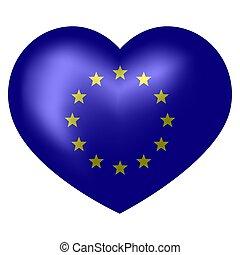 coração, illustration., forma., bandeira, vetorial, ue