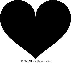 coração, illustration., silhouette., vetorial, pretas, ícone