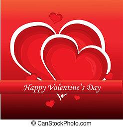 coração, illustration., valentine, experiência., vetorial, dia, vermelho