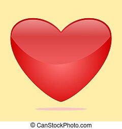coração, illustration., vetorial, sinal, vermelho