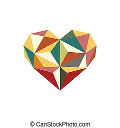 coração, ilustração, coloridos, origami